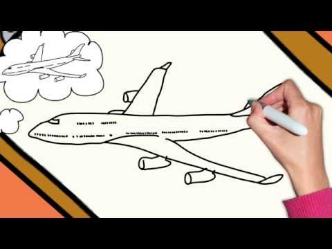 How To Draw A Plane Airplane Boeing 747 Step By Step Easy
