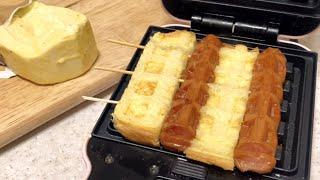 초간단! 와플기계 식빵꼬치 요리 / Waffle Mak…