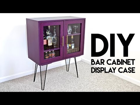 DIY Modern Bar Cabinet / Display Case with Hairpin Legs | How To Build - Woodworking