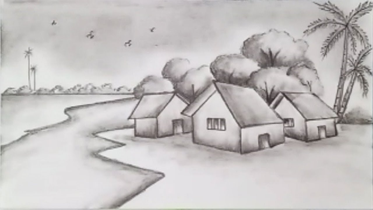 How to draw a scenery of village with pencil step by step very easy
