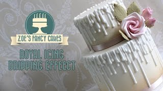 Royal icing dripping effect on a cake tutorial wax dripping cake