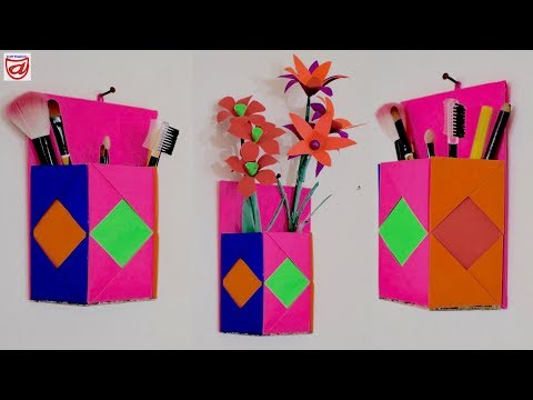 DIY Makeup Organizer Craft Idea Multi purpose Flower Vase