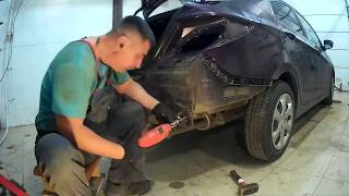 Хундай солярис ремонт заднего  лонжерона кузова Нижний Новгород Hyundai Accent Auto body repair