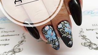 простой и быстрый дизайн ногтей  не жостово и не хохлома  Мазковые цветы в дизайне ногтей