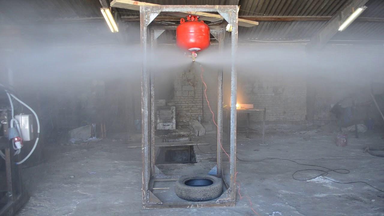 Модуль газового пожаротушения.  Срабатывание модуля пожаротушения