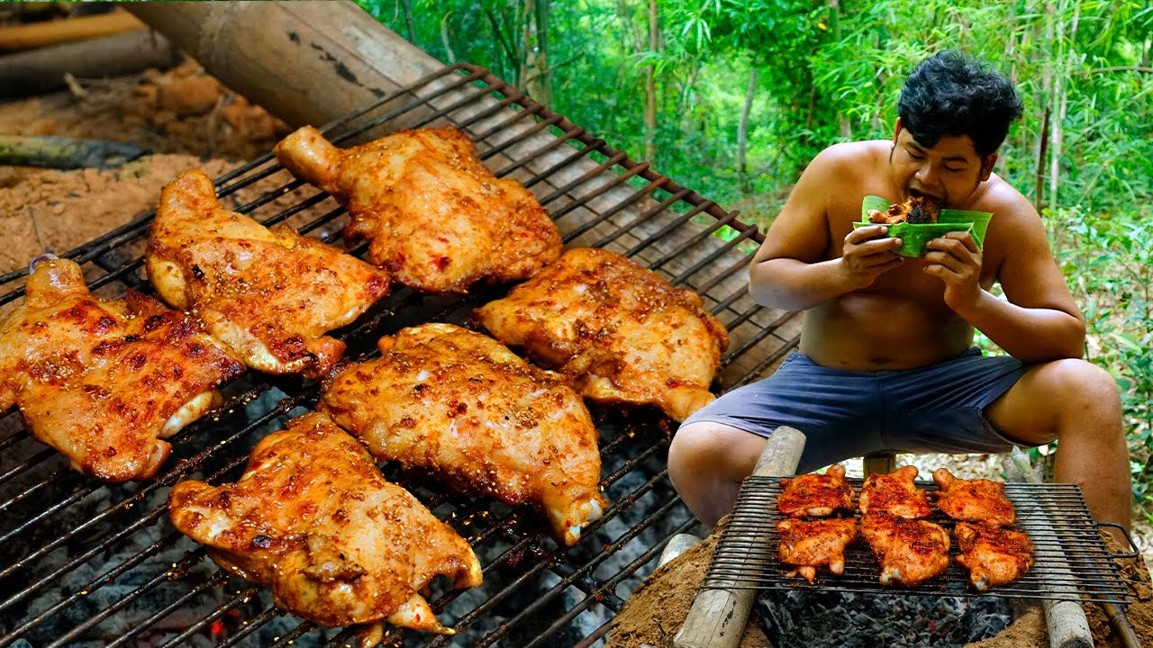 Cooking Flat Chicken Lemongrass, Coconut Milk Eating So Delicious - Roasted Chicken BBQ REcipe