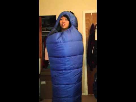 Demonstrating the sleeping bag
