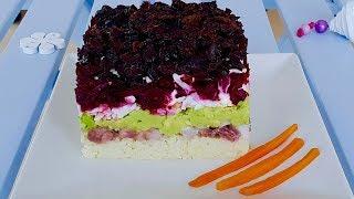 Праздничные салаты! Невероятно вкусный слоеный салат с сельдью, авокадо и черносливом.