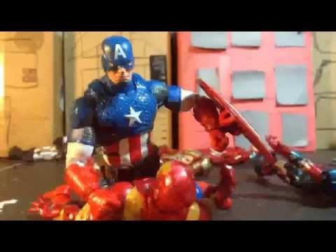 (marvel civil war) captain America vs iron man stop motion