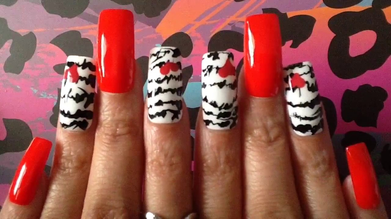 Cursive Love Letter Nail Art 025 Red White And Black Long Square ...