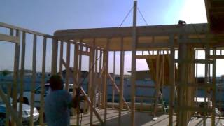One Person Lifting Plywood For Roof