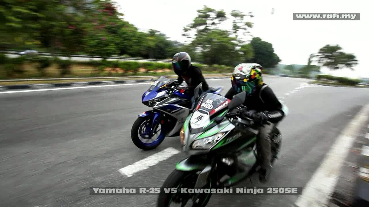 Yamaha R25 VS Kawasaki Ninja 250SE - YouTube