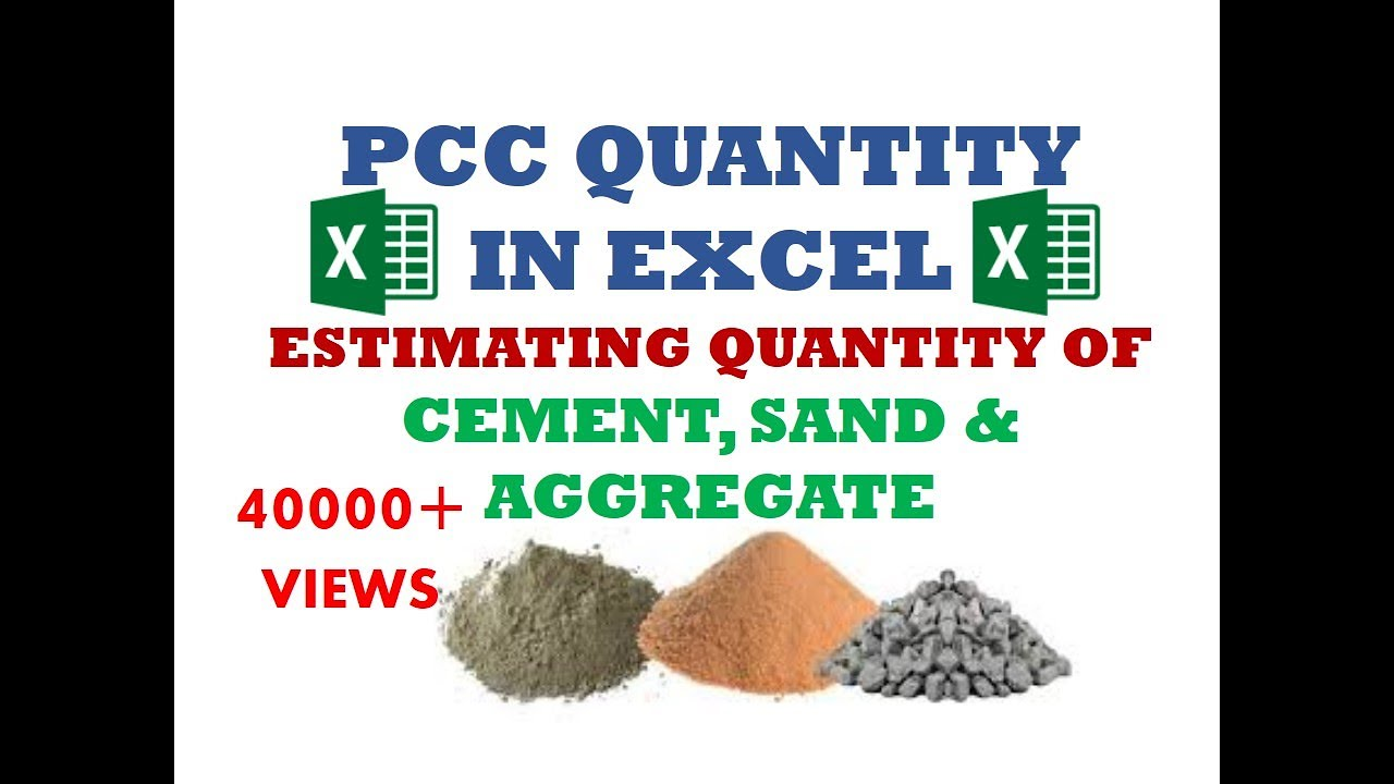 Concrete PCC Work-Estimating quantity of Cement, Sand & Aggregate in  Microsoft Excel-Unite Coaching