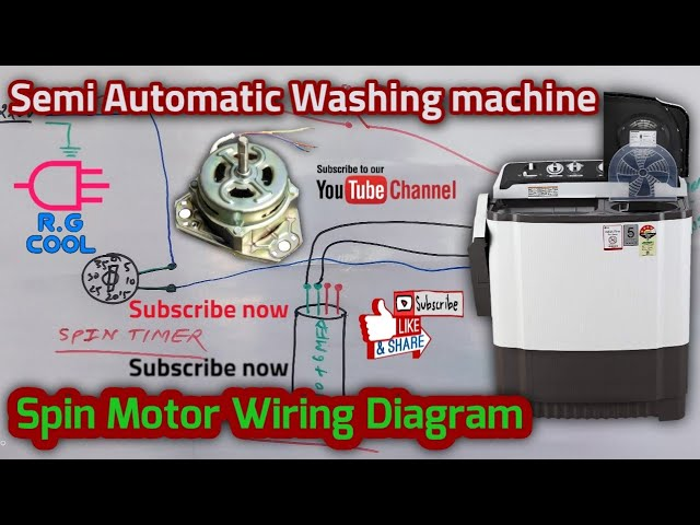 Semi Automatic Washing machine Spin Motor Wiring Diagram With Dual Type  Capacitor - YouTube | Twin Tub Washing Machine Wiring Diagram |  | YouTube