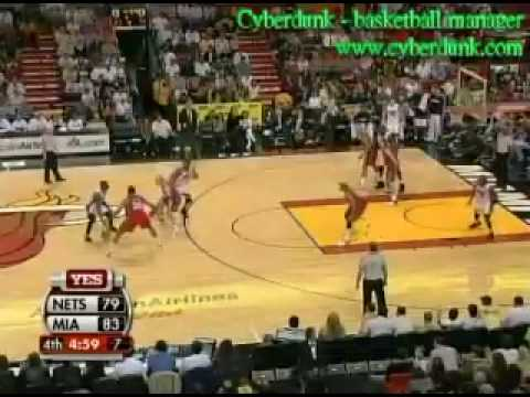 cyberdunk-Heat vs Net-Ricky Davis with a quick back hand dribble and pass,but J.Will missed it,86-81