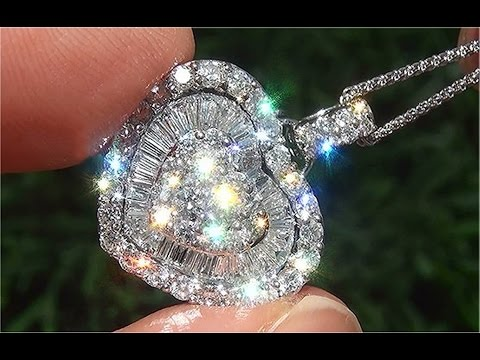 Certified Natural VS2/G Natural Diamond 18k White Gold Heart Pendant Necklace - C861