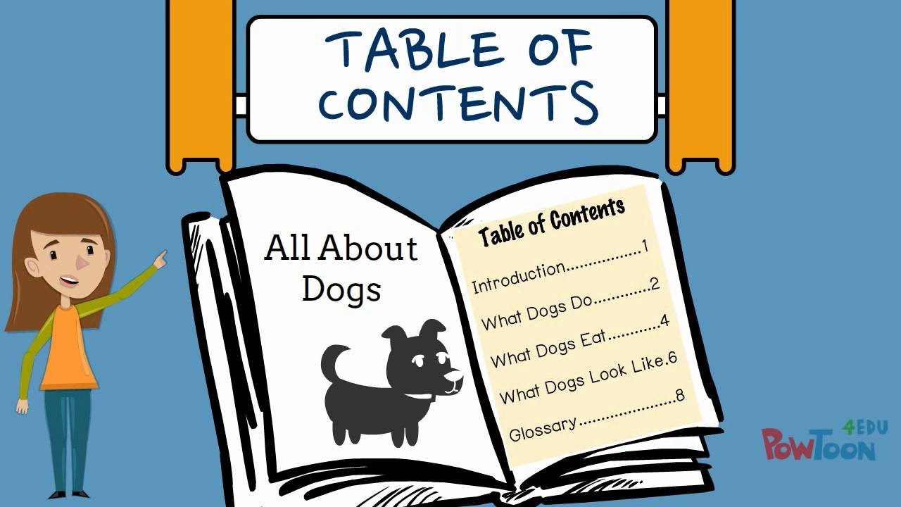 table of contents for kids