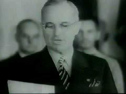 President Truman reads the Japanese Surrender 1945