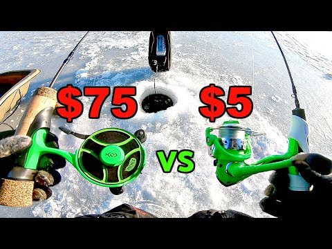 CHEAP Vs. EXPENSIVE Ice Fishing Reel CHALLENGE!!! (Surprising)