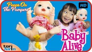 Baby Alive Poops On Pampers - Potty Training Fail Part 1 Boneka Mainan Anak Bayi Lucu Tori Airin