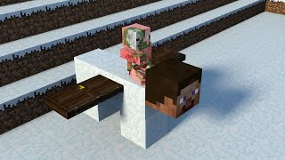 Monster School: Building Snow Golem - Minecraft Animation