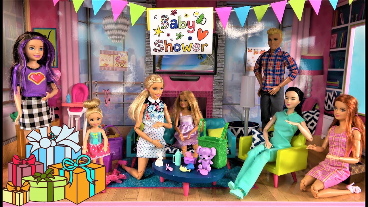 Barbie Baby Shower Story: Barbie Sisters Bring Presents for Barbie Baby in Skipper's New House Ep 4