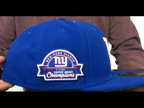 NY Giants 4X  TITLES SIDE-PATCH  Royal Fitted Hat by New Era - YouTube b81aaaa044b6
