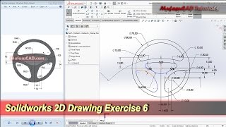 Solidworks 2D Drawing Practice Tutorial | Basic Exercise 6