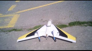 HOMEMADE RC  FLYING WING  IN THE WIND