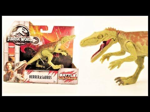 Jurassic World Mattel Battle Damage Herrerasaurus || NEW Dinosaur Toy Unboxing & Review!