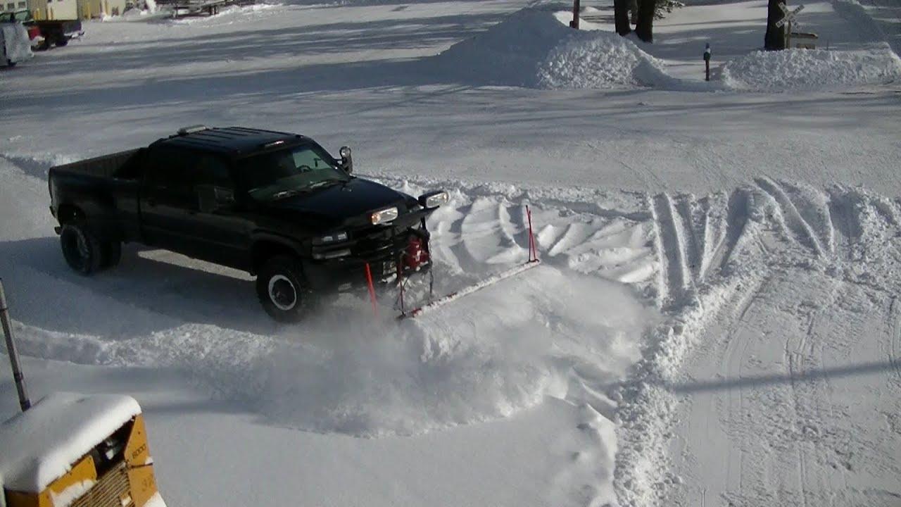 Snow Plowing 02 Chevy Silverado Dually Western Pro Plow ...