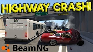 BIGGEST HIGHWAY CRASHES & SURVIVAL! - BeamNG Gameplay & Crashes - Realistic Highway Crash