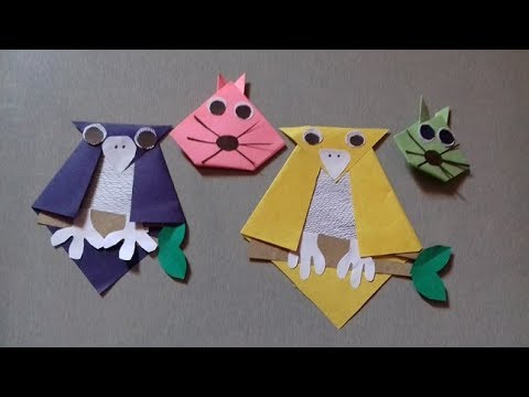 Easy paper rabbit & paper owl making craft idea