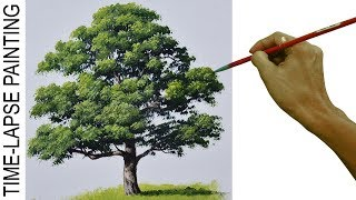 How to Paint Realistic Oak Tree | Acrylic Painting Tutorial in Time Lapse