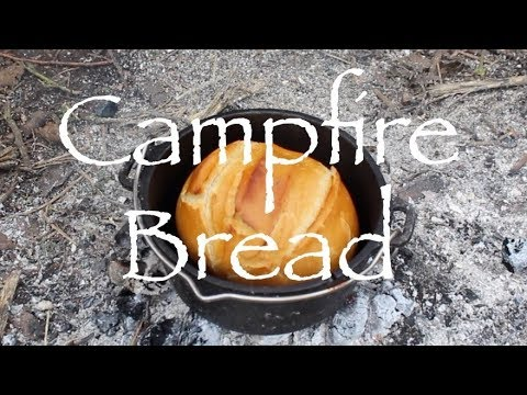 Campfire Bread in the Dutch Oven.  Black Pudding.  Plough Point Tarp Shelter.