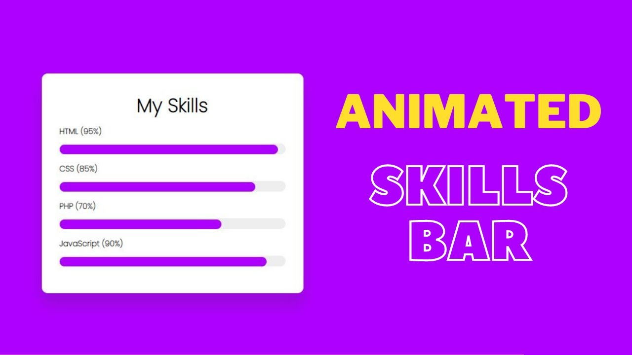 Animated Skills Bar with HTML and CSS |  How to make Animated Progress and Skill Bar using HTML CSS
