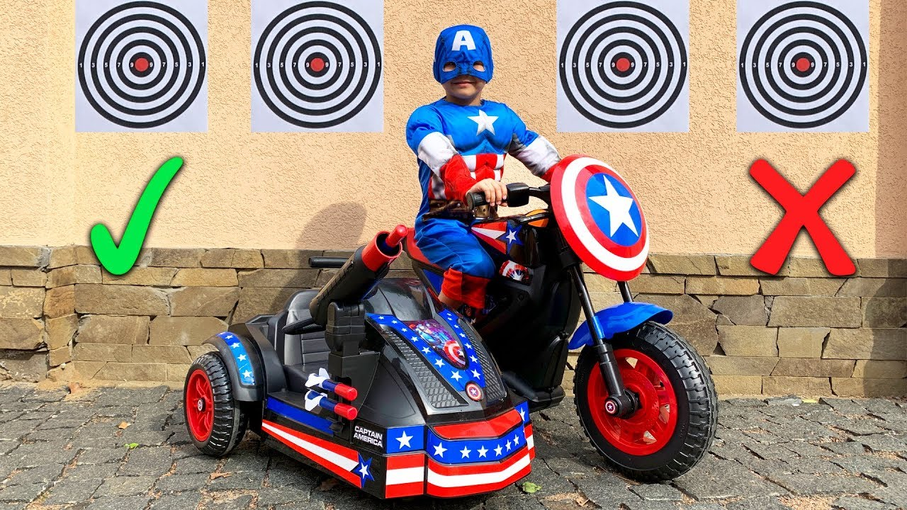 Dima pretend play like a Captain America - Unboxing power wheels bike Avengers
