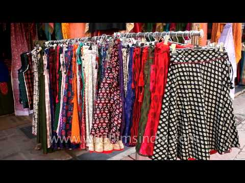 Skirts of different hues & prints at Dilli Haat