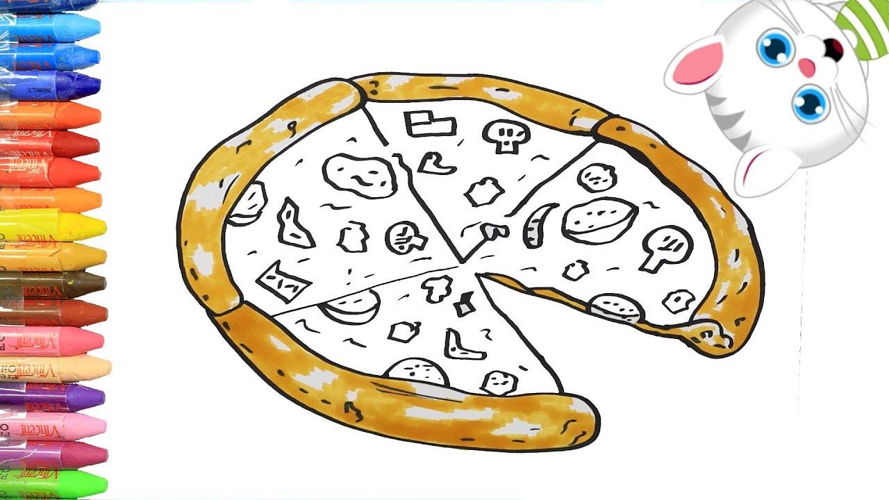 Cómo Dibujar Y Colorear La Pizza Dibujos Para Niños Con Mimi Aprender Colores