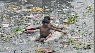 Самоя загрязнённая река Индии.Река Ямуна.(River Yamuna India)
