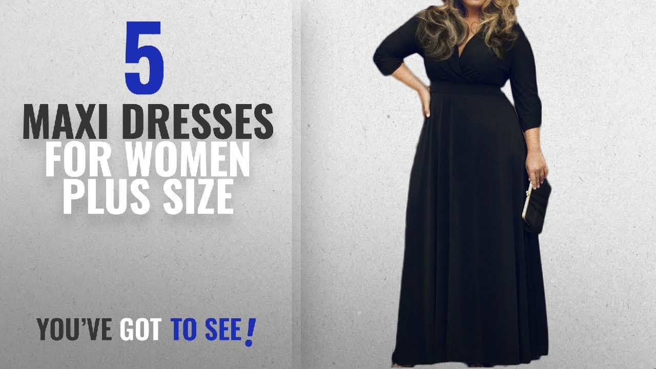 0bd8c7b91aa29 Top 10 Maxi Dresses For Women Plus Size   Winter 2018    POSESHE Women s  Solid V-Neck 3 4 Sleeve