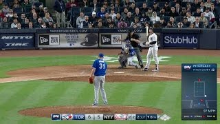TOR@NYY: Biagini K's Holliday to strike out the side