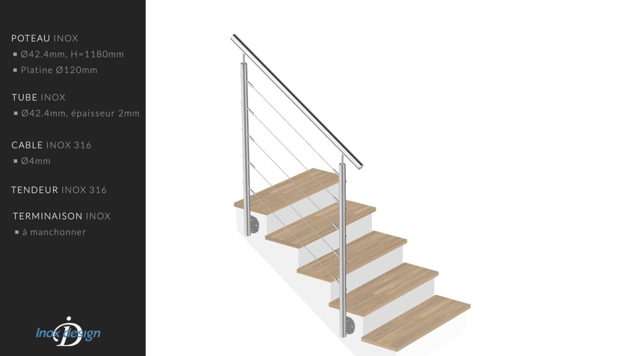garde corps escalier inox a cables kit 1m pose laterale youtube. Black Bedroom Furniture Sets. Home Design Ideas