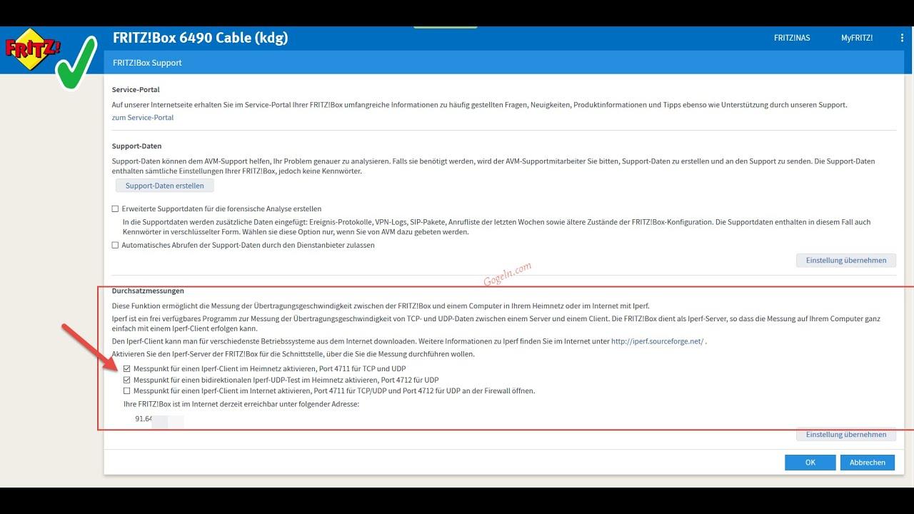 Netzwerk-Performance mit in Fritzbox integriertem Iperf testen