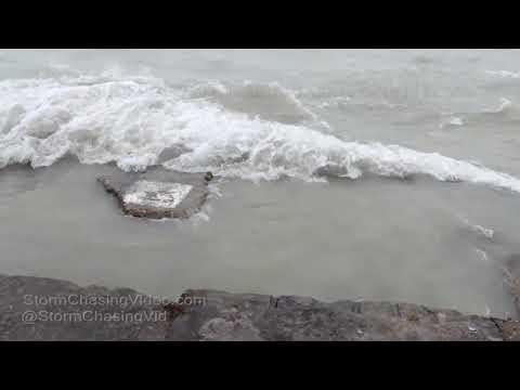 Lake Michigan, Lake Shore Flooding, Chicago, IL - 4/14/2018