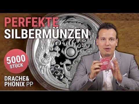Perfekte Silbermünzen 🔵 1 Unze Drache & Phönix 2017 PP 🔵 5.000 Stück in Silber
