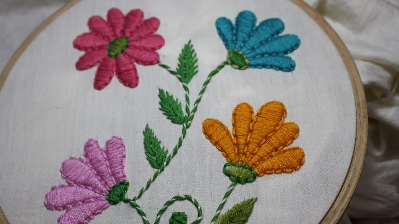 Hand Embroidery Designs Satin Stitch Stitch And Flower 128 Youtube