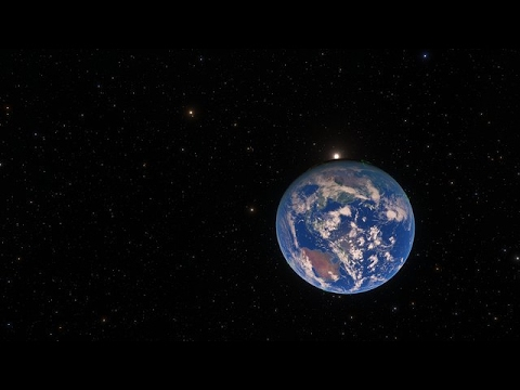 Artist's impression of a trip to the super-Earth exoplanet LHS 1140b