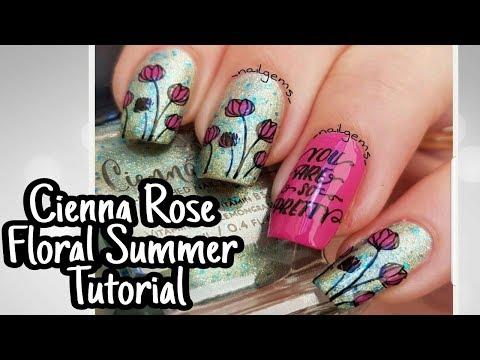 NAIL ART TUTORIAL//Cienna Rose Summer Polish//Floral Summer Stamping Design