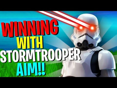WINNING A FORTNITE GAME USING STORMTROOPER AIM!!! Fornite Battle Royale X Star Wars